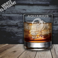 Laser Etched Personalised Zodiac Aquarius Whiskey-Highball-Pint-Tankard Glass