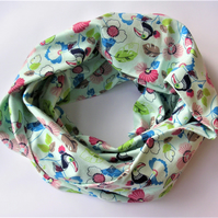Soft green Cotton Jersey flowers and toucans loop, scarf, snood, shawl, cowl