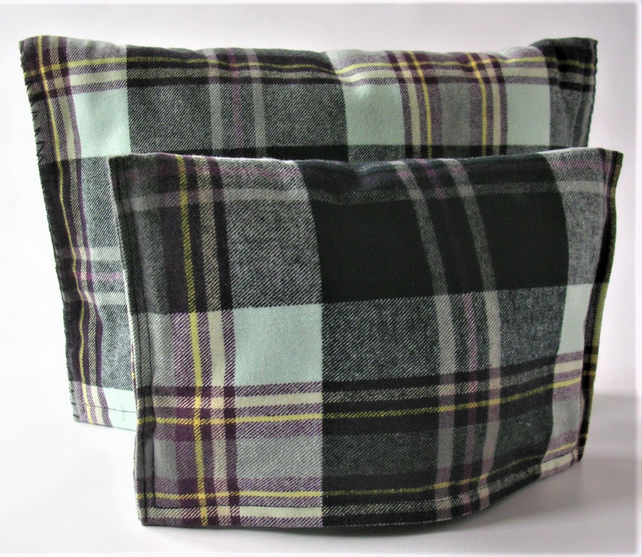 Pair of contemporary Grey and Black Tartan Tea Cosies for small to large teapots