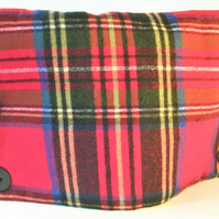Red Tartan rectangular shaped tea cosy for standard teapot with black buttons