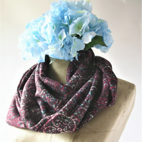 Medium weight warm, soft and cosy jersey double loop scarf, neck warmer or cowl