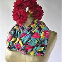 Bright Floral Infinity Scarf, black background with crimson, yellow, green