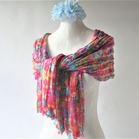 Pretty Pink Abstract Floral Scarf, soft ruffled fabric, informal neck accessory