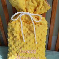Sweet dreams hot water bottle cover pink and yellow