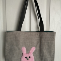 Pink rabbit bunny and grey on grey handbag