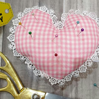 Handmade Pin Cushion - Pink Gingham Heart