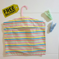 Handmade Peg Bag - Rainbow Stripes