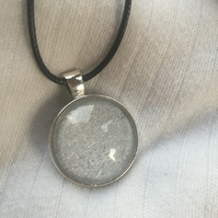 Art Deco Inspired Silver Round Cabochon Effect Pendant With Cord Necklace
