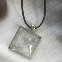 Art Deco Inspired Silver Square Cabochon Effect Pendant With Cord Necklace