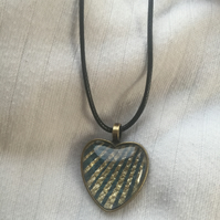 Art Deco Style Bronze Colour Heart Cabochon Effect Pendant With Cord Necklace