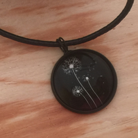 Seeding Dandelions Round Pendant Necklace
