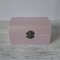 Glittery Pink Wooden Treasure Chest Box with Velvet Lining