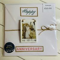 Wedding anniversary photo tile card