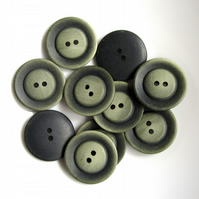 10 x Green & Black One Inch Buttons