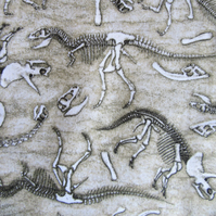 Dinosaur Skeleton Print on Cotton Fabric