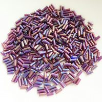 Petrol Purple Glass Bugle Beads
