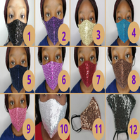 Glittering Face Mask, Reusable, Washable, Filter Pocket with Nose Bridge Wire