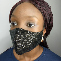 Glittering Sequin Face Mask- Black