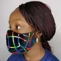 Face Mask, Reusable, Washable, Filter Pocket, Nose Bridge Wire, Handmade- Black
