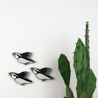 puffin wall decoration, set of 3 flying miniature birds, wooden, hand painted