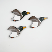 mallard duck wall decor, set of 3 flying miniature birds, wooden hand painted