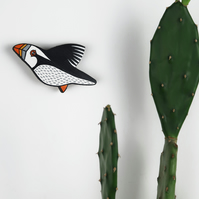 puffin wall decoration, miniature bird art, wooden, hand painted ornament