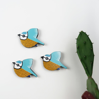 blue tit wall decoration, set of 3 flying miniature tits, british birds art