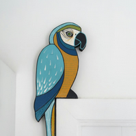 Blue macaw door topper, parrot door decoration, tropical jungle theme decor
