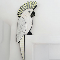 cockatoo door topper, white parrot door decoration, tropical jungle theme decor