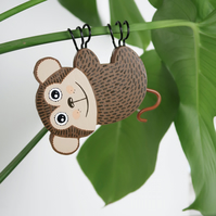hanging monkey plant decoration, crazy plant lady gift, cute animal decor