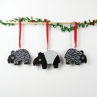 malayan tapir christmas tree hanging decorations, set of 3 cute stocking fillers