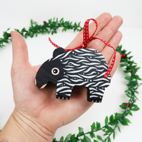 malayan tapir christmas tree hanging decorations, cute animal stocking filler