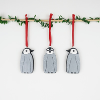 penguin christmas tree hanging decoration, set of 3 cute wooden stocking fillers