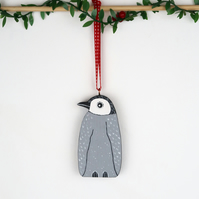 penguin christmas tree hanging decoration, cute wooden animal stocking fillers