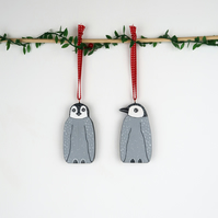 penguin christmas tree hanging decoration, set of 2 cute wooden stocking fillers