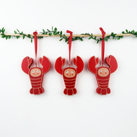 lobster christmas tree hanging ornament, set of 3 cute stocking fillers