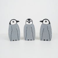penguin christmas ornament, set of 3 cute wooden stocking fillers