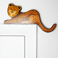 cheetah door topper, jungle animal art, tropical ornament gift