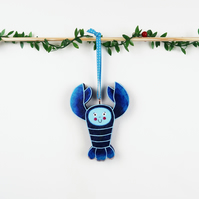blue lobster christmas tree hanging ornament, shellfish, cute stocking filler