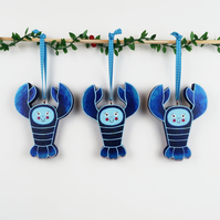 blue lobster christmas tree hanging ornament, set of 3 cute stocking fillers
