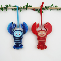 blue and red lobster christmas tree hanging ornament, set of 2 stocking fillers