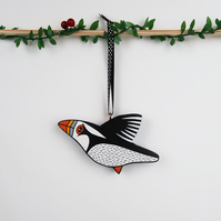 puffin christmas tree hanging decoration, bird lover gift, stocking filler