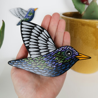 starling wall decor, garden bird wall hanging, gift for bird lovers