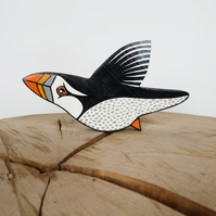 PUFFIN wooden ornament, wildlife theme home decor, bird lover gift