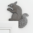 grey squirrel door topper, forest theme home decor, decoration for door frame