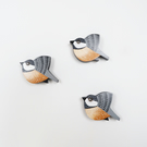 coal tit wall hanging, set of 3 miniature flying bird, wooden decorations