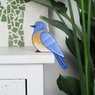 western bluebird door topper, miniature North American bird ornament, blue bird