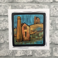 Art print illustration Cornish themed wall art tin mine landscape cornwall