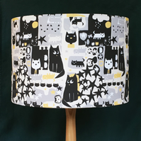 CAT PRINT LAMPSHADE. 30 CM SIZE. FREE UK MAINLAND DELIVERY.