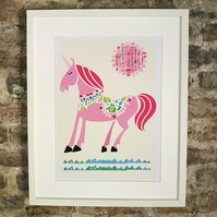 UNICORN  PRINT POSTER A4 SIZE. FREE UK MAINLAND DELIVERY.